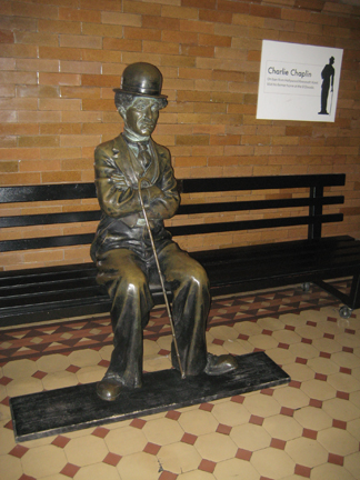 Charlie Chaplin bronze sculpture, on loan at the Bradbury Building, Los Angeles