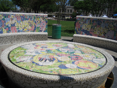 Malou Flato, ceramic tile benches and fountains, Market Square
